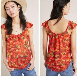 ANTHROPOLOGIE STRAWBERRIES Fruit Top Blouse 14 L